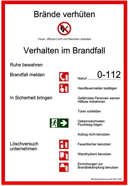 Darstellung einer Brandschutzordnung DIN 14096 Teil A