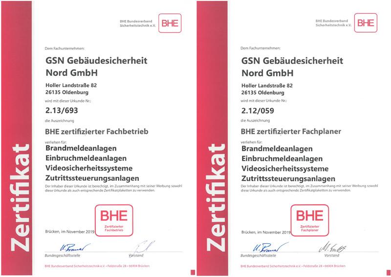 BHE Zertifikate Fachplaner und Fachbetrieb Zutrittssteuerungsanlagen